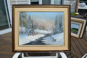 "GORDON DEAN ORIGINAL OIL ON BOARD PAINTING WINTER 33"" X 27"""