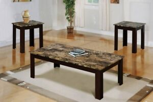 Marble coffee and end tables