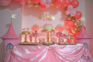 PRINCESS PINK AND GOLD SWEET TABLE, CANDY BAR, CANDY BUFFET