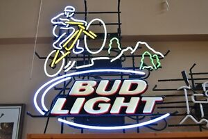 LARGE NEON BUD LIGHT MOUNTAIN BIKER SIGN