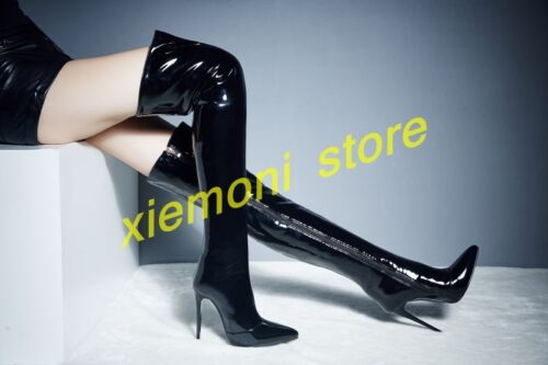 4c74f7644d4a Details about Womens Patent Leather Sexy Pointed Toe Over Knee Thigh High  Boots Stiletto Shoes