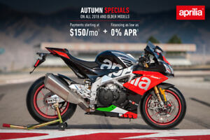 APRILIA YEAR END SALE 0% FINANCING FROM $41 PW TAX IN NO DEPOSIT
