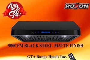 900CFM BLACK MATTE  FINISH  BAFFLE FILTER  RANGE HOOD $499