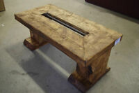 Rustic and solid wood coffee table