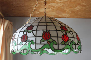 Stained glass hanging lamp-roses are red- Extra large
