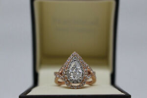Rose And White Gold 1.95 ct Pear Shape Diamond Engagement Ring