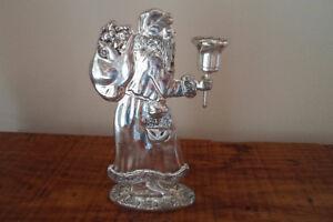 Vintage Silver Plated Santa Candle Holder