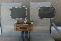 Hanging Chalk signs and Rustic Card Box