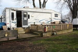 28 1/2 Ft Fifth Wheel, Set up in Campground