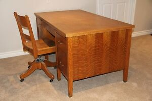 Large Oak Desk and Chair