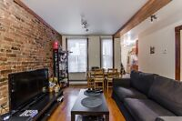 4 1/2 1 bed double living room with brick wall ville Marie