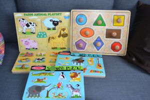 5 wooden puzzles - great condition - melissa and doug