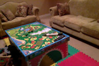 Thomas the train set with complete table, track, and trains