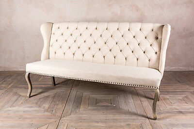 UPHOLSTERED 3 SEATER FRENCH LOUIS STYLE SOFA WITH BUTTON BACK IN CREAM LINEN