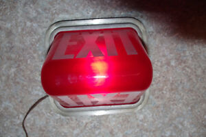 Vintage Kopp Industrial Illuminated Red Glass Exit Sign Light London Ontario image 7