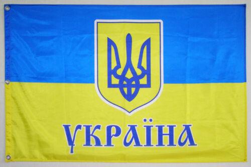 FLAG UKRAINE EMBLEM TRIDENT TRIZUB  120*80 CM