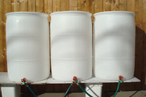 55 Gallon Clean White Rain Barrels With New Brass Spigots
