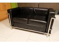Le Corbusier LC2 2 seat sofa 'LOVESEAT' black
