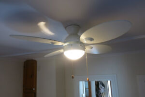 5 ceiling fans (3 wood, 2 white)