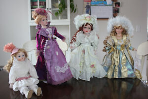 4 Porcelain Dolls-Excellent Condition