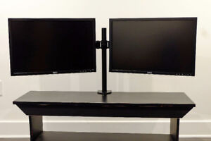 """2 Dell 24"""" UltraSharp monitors with dual stand"""