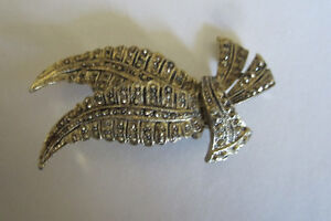 Faux Marcasite Feather Brooch