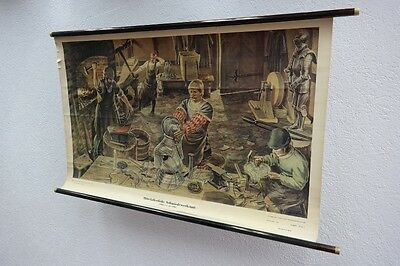 Old Chart Medieval Blacksmith's Shop, Wall Map, Role Map, Decor