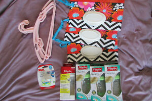 Baby item lot. Playtex Drop in Bottles, Hangers, Pacifier & More