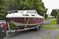 21 ft 1983 Fibreglass boat AND trailer