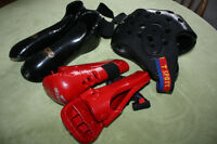 Martial Arts Sparring Gear Equipment - Headgear, Boots & Gloves