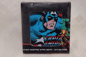 Marvel Captain America Glass Coasters set of 4 New