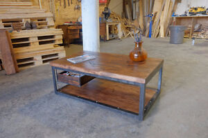 2 inch Slab and Steel Coffee table w/ Pull out Crate Shelf London Ontario image 3