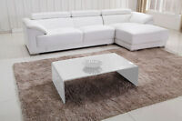 CLEARANCE SALE - White glass coffee table with set of nesting