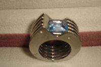 ZOPPINI STAINLESS STEEL RING WITH AQUA MARINE STONE- SZ 6- NEW!