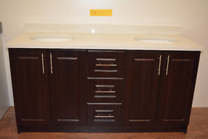"""Bath Vanity 61"""" +Double Sink+ Top with 2 Splashes $749 only"""