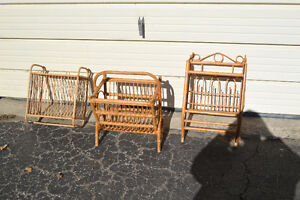 2 Wicker Rattan Wall Shelves + Magazine Rack: $15 each $40 All
