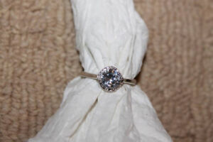 Ladies 18k White gold over 925 silver, size 7 engagement ring