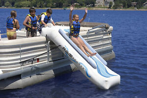 Inflatable slide for Pontoon boat