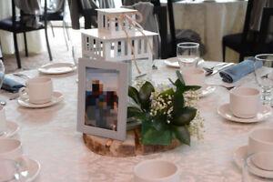 White Lanterns + Wedding Sign