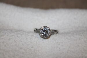 Ladies 18k White gold over 925 silver, size 8 engagement ring