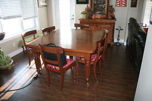 Antique magohony 5 legged table and chairs