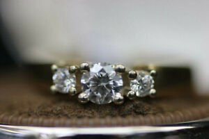 Birks Yellow + White Gold 14k 3 Stone Engagement Ring (#15563)