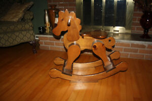 Beautiful Wooden Rocking Horse Plant Stand