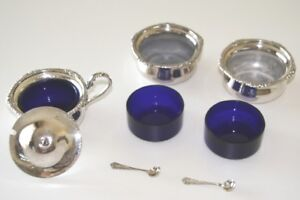 """PRICE DROP"" SILVERWARE – SALT CELLARS and COVERED MUSTARD POT o"