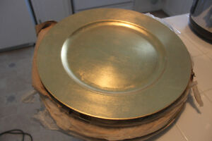8 New Gold Charger Plates (for upscale dining decor)