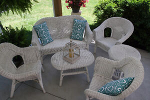 White Wicker Porch /Patio Chairs-Tables-Loveseat
