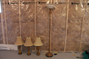 Foot lamp and three table lamps