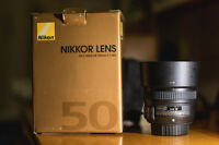 Nikkor 50mm 1.8 G - brand new cond., used twice, have receipt