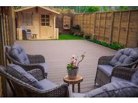 Composite decking with steel frame structure
