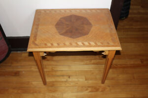Marquetry inlay wood table 24 x 18 x 20 H inches